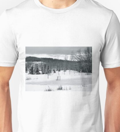 Black and White Pond Hockey Unisex T-Shirt