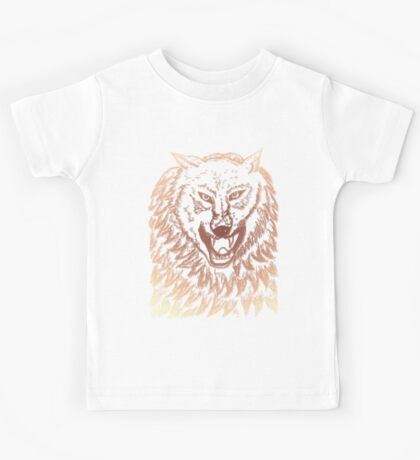 Abstract Wolf Sketch 3 Kids Tee