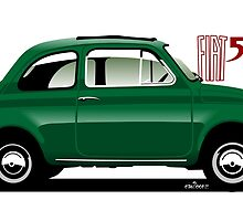 Classic Fiat 500F green by car2oonz