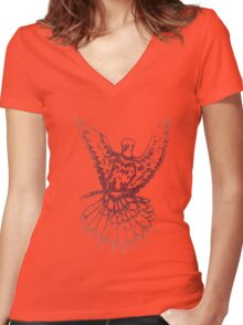 Dove Sketch 2 Women's Fitted V-Neck T-Shirt
