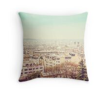 Paris' Skyline from Montmartre - Old vintage photograph Throw Pillow