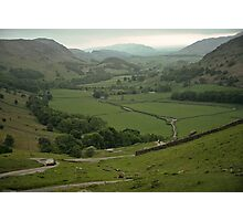 Hardknot Pass from below Roman fort 19790616 0019 Photographic Print