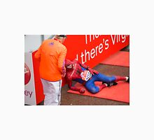 Spiderman collapses at the finish line of the Virgin money London Marathon Unisex T-Shirt