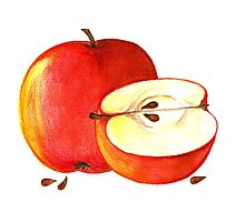 BIG APPLE OF PARADISE - One and a Half delicious and seducing Apples Photographic Print