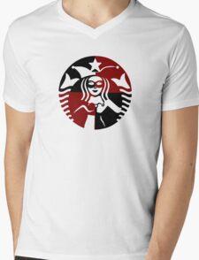 Quinn Coffee (Black+Red) Mens V-Neck T-Shirt