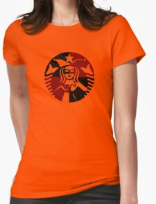 Quinn Coffee (Black+Red) Womens Fitted T-Shirt