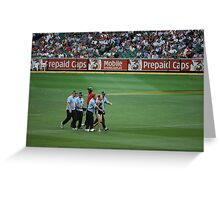 Streaker being covered up, Melbourne Cricket Ground   Greeting Card