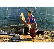 Winnowing rice Photographic Print