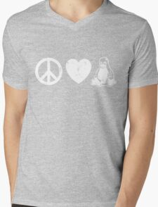 Peace Love And Linux Mens V-Neck T-Shirt