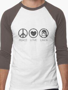 Peace Love And Linux Men's Baseball ¾ T-Shirt