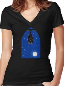 Bat in the Window Women's Fitted V-Neck T-Shirt