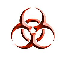DANGER, Bio Hazard, WARNING, Symbol, Biological Hazard, Red embossed by TOM HILL - Designer