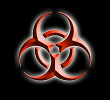 Danger, Warning, Biohazard symbol, Biological hazard; BIO HAZARD, red black embossed by TOM HILL - Designer