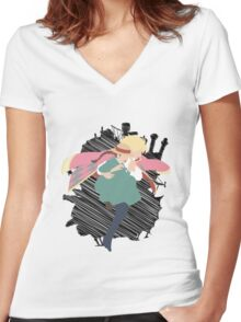 Dancing in the sky Women's Fitted V-Neck T-Shirt