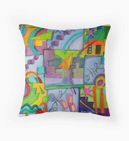 Playful Squares Throw Pillow