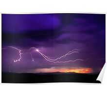 Sunrise Lightning, Yarra Valley, Victoria. Poster