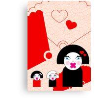 Geisha Trio Card Canvas Print
