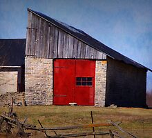 red door barn by Lisa Utronki