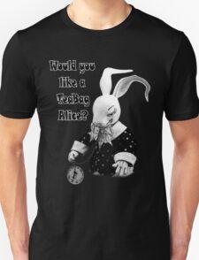 Would you like a TeaBag Alice? (black&white) Unisex T-Shirt