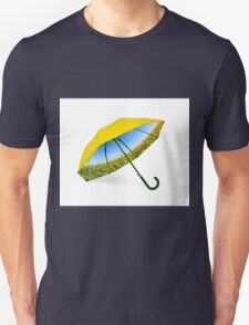 Umbrella with sunflower valley and blue sky view T-Shirt