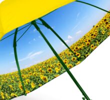 Umbrella with sunflower valley and blue sky view Sticker