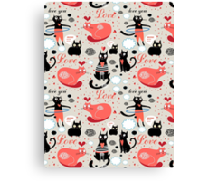 pattern lovers cats Canvas Print
