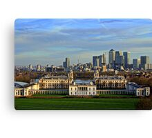 Greenwich Royal Naval Museum and Canary Wharf Canvas Print