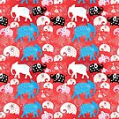 pattern of elephants in the clouds by Tanor