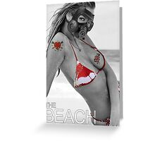 The beach girl and a gass mask Greeting Card