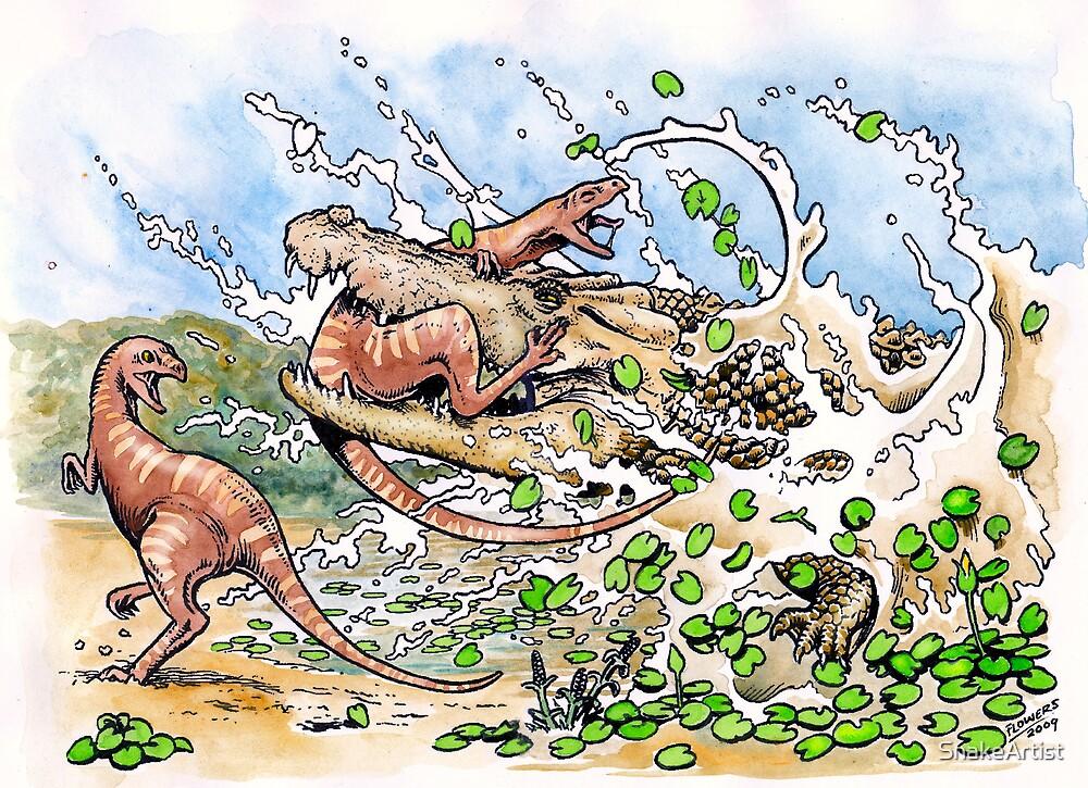 Crocodile vs Dinosaur by SnakeArtist