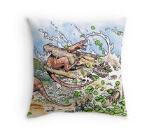 Crocodile vs Dinosaur Throw Pillow