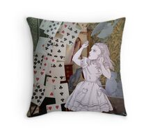 Alice In Wonderland/The Pack of Cards Throw Pillow