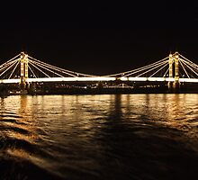 Albert Bridge in London at Night by pcimages