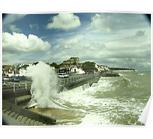 wave hitting sea defance Poster