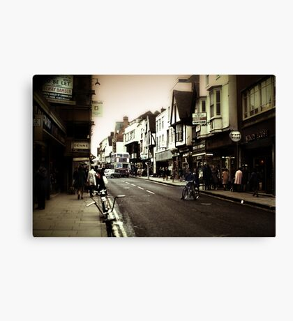 Vintage London Street With Bicycles Canvas Print