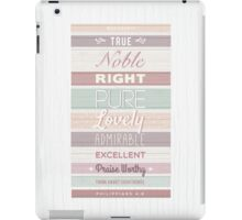 Wood effect, Strippy, Bright, Colourful, Happy Bible Verse. iPad Case/Skin
