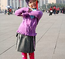 Young Chinese Girl on Tiananmen Square by ptpatty