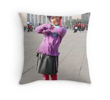 Young Chinese Girl on Tiananmen Square Throw Pillow