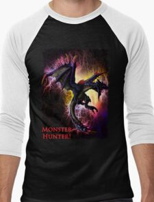 Flying Black Wyvern Monster Hunter Men's Baseball ¾ T-Shirt