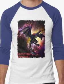 Flying Black Wyvern Monster Hunter Men's Baseball ¾ T-Shirt