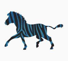 Zebra Black and Blue Print by Traci VanWagoner