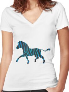 Zebra Black and Blue Print Women's Fitted V-Neck T-Shirt
