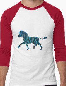 Zebra Black and Blue Print Men's Baseball ¾ T-Shirt