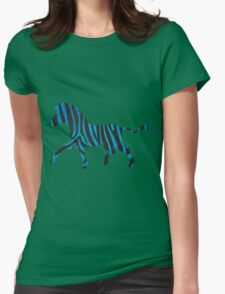 Zebra Black and Blue Print Womens Fitted T-Shirt