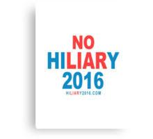 No Hiliary 2016 Canvas Print