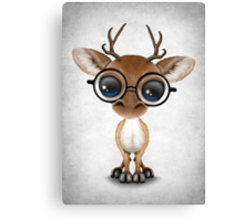Cute Curious Nerdy Baby Deer Wearing Glasses Canvas Print