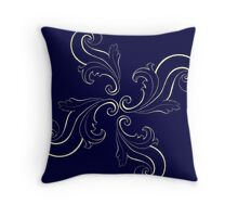 Indigo Filigree Flower  Throw Pillow