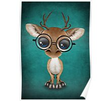 Cute Curious Nerdy Baby Deer Wearing Glasses on Teal Blue Poster
