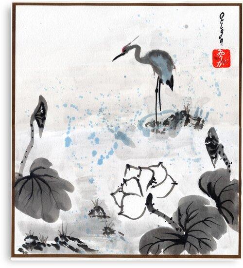 Heron & Lotus by Origa