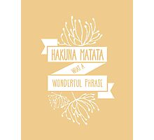 Fun Orange Disney Lion King Ribbon Flower Quote, Hakuna matata, 'No worries for the rest of your days' Photographic Print